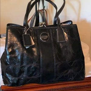 Coach black patent leather handbag